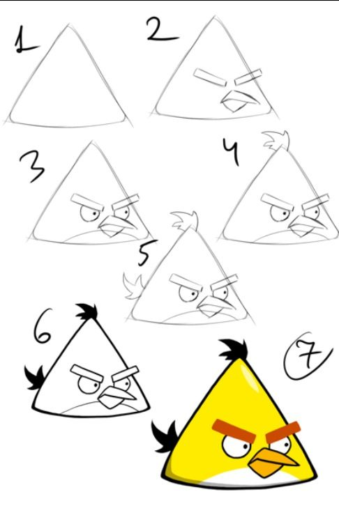 486x729 Draw The Yellow Angry Bird Drawing Angry Birds