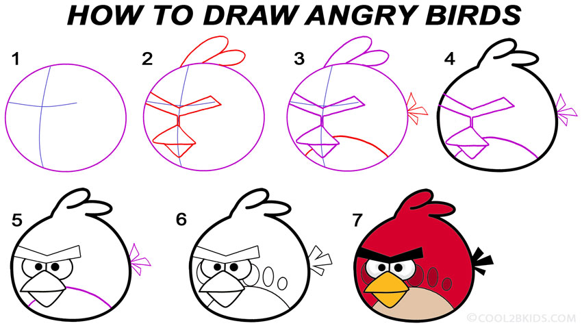 850x479 how to draw angry birds step by step drawing tutorial with