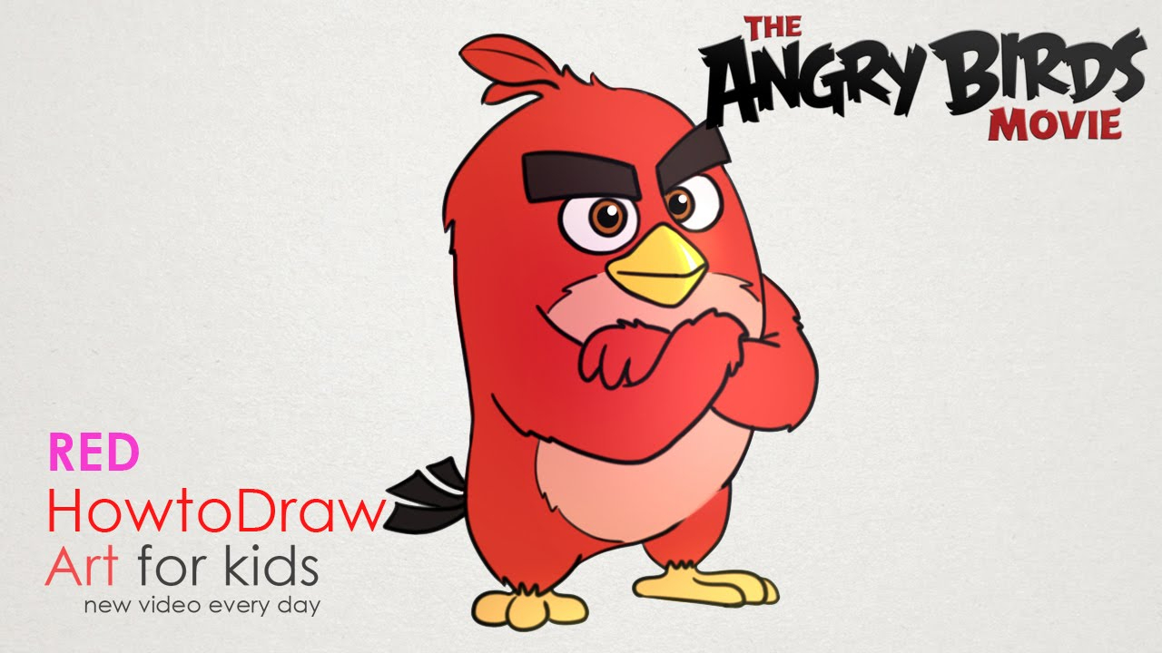 1280x720 Angry Birds Step By Step Drawing How To Draw Red From Angry Birds