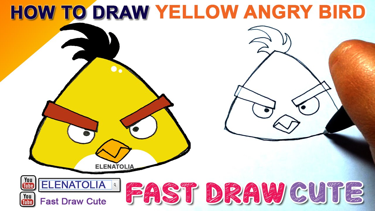 1280x720 How To Draw Yellow Angry Birds Step By Step Easy Fast Draw Cute