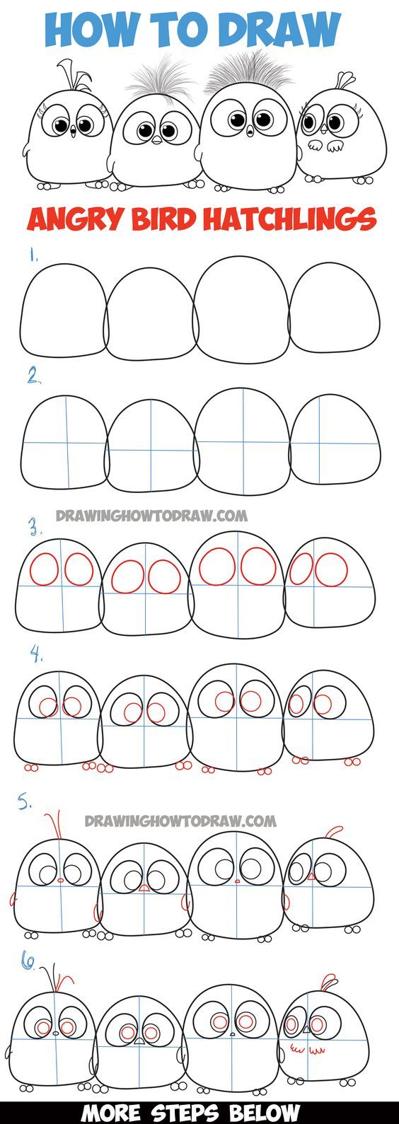 564x1589 Learn How To Draw Angry Bird Hatchlings Baby Birds