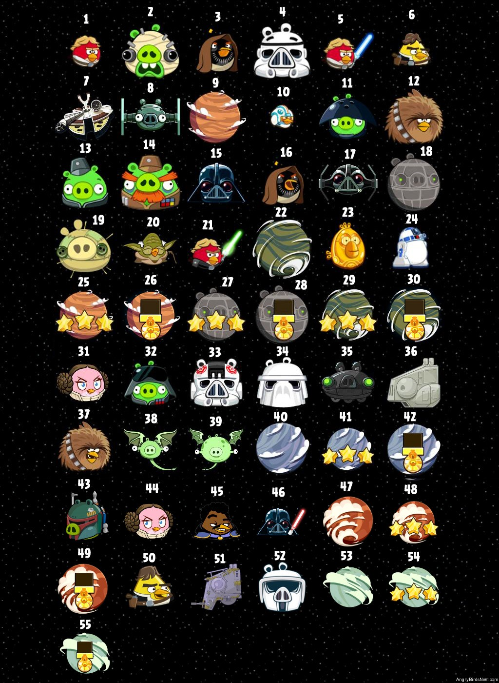 1024x1400 Angry Birds Star Wars Character Page Screenshot Numbered Angry