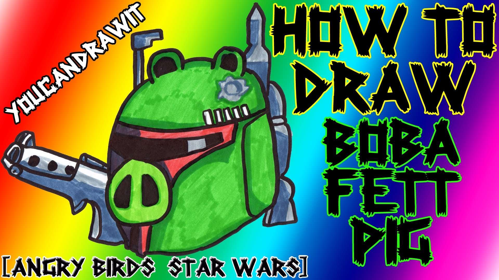 1920x1080 How To Draw Boba Fett Pig From Angry Birds Star Wars