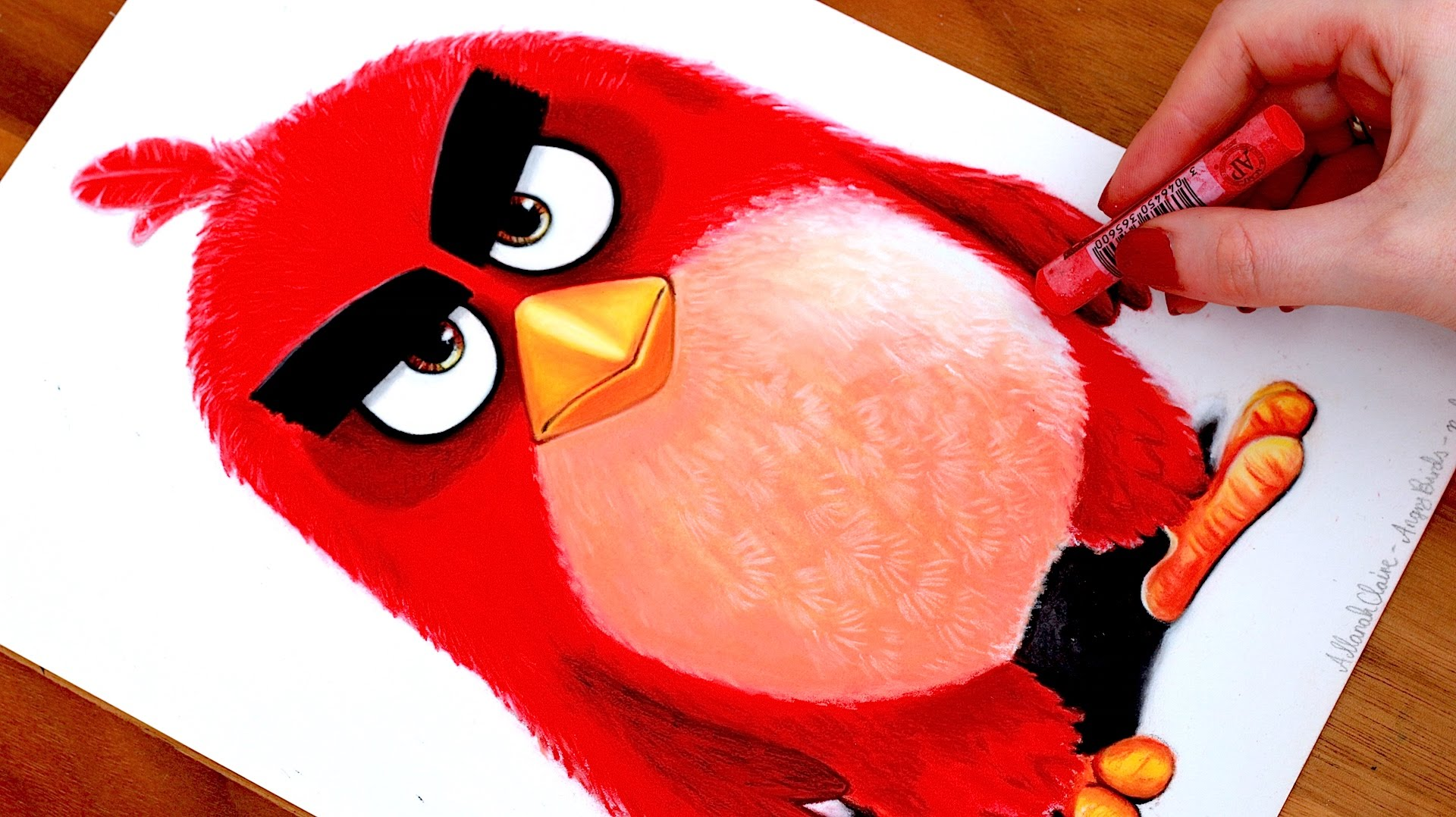 1920x1078 Angry Birds Drawing Red