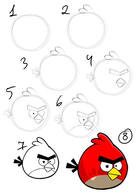 452x640 How To Draw Angry Birds Step By Step Tutorial In Pictures