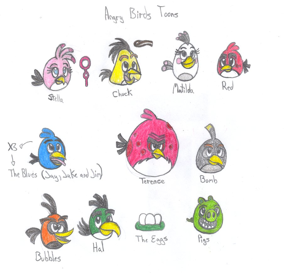 917x870 Angry Birds Toons Characters By Soniclifetime