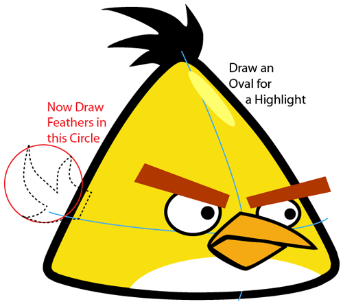 500x443 How To Draw Yellow Angry Bird With Easy Step By Step Drawing