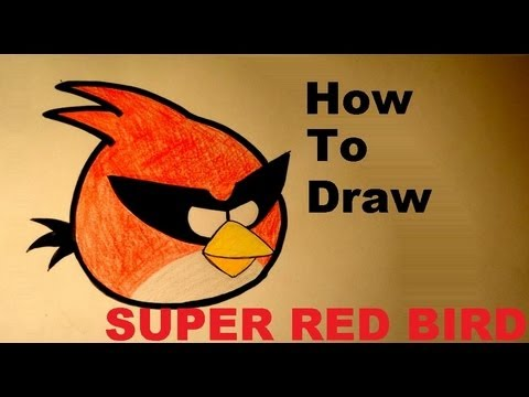 480x360 How To Draw Super Red Bird From Angry Birds Space Drawing Lesson