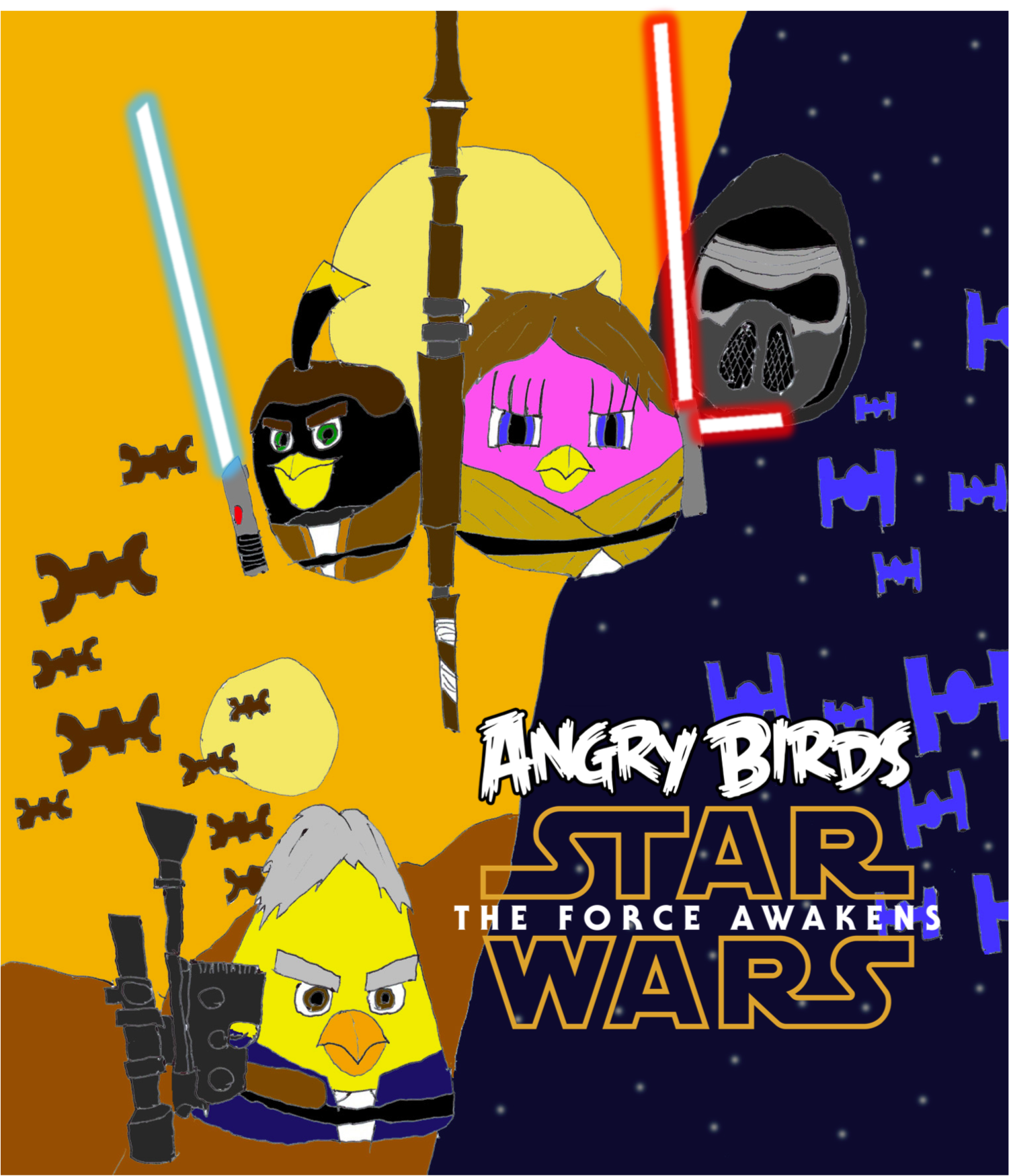 1501x1749 Angry Birds Star Wars The Force Awakens Poster By Fanangrybirds