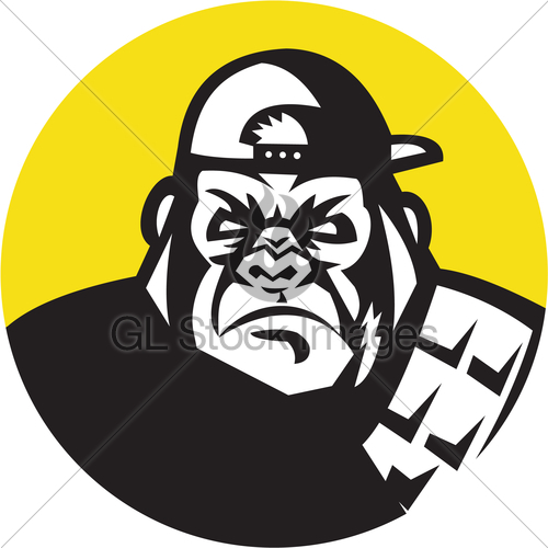 500x500 Angry Gorilla Head Baseball Cap Circle Retro Gl Stock Images
