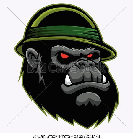 450x470 Angry Gorilla Head Vector Illustration. Vectors Illustration