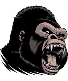 236x280 Angry Gorilla Head Vector Drawing Illustrators