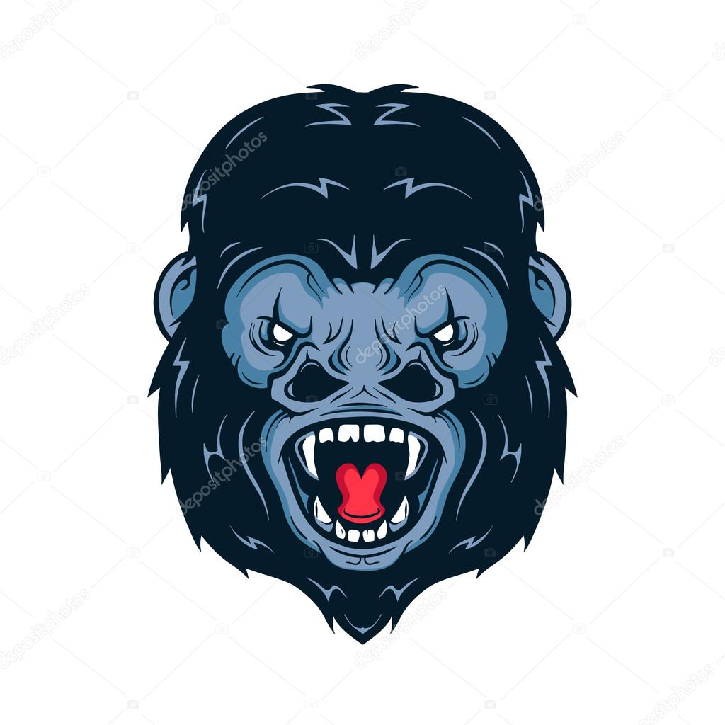 1024x1024 Angry Gorilla Head Vector Illustration. Isolated On White