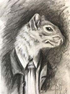 225x300 Original Charcoal Drawing Squirrel Animal Pet Fantasy Fine Art