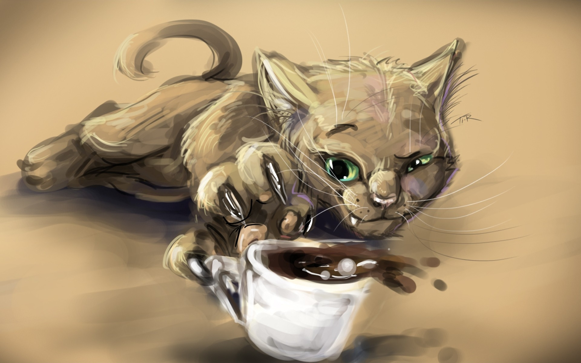 1920x1200 Cats Animals Drawings Coffee Cups Paws 1920x1200 Wallpaper High