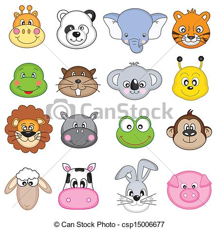 450x470 Set Animal Faces. Animal Faces Icons Vectors Illustration