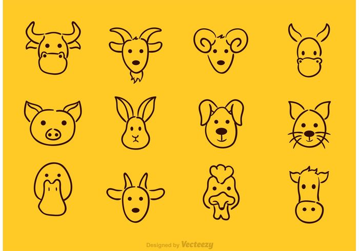 700x490 Vector Animal Face Drawing Icons 110705