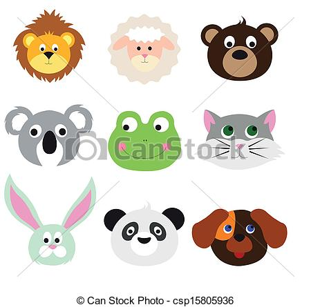 450x445 Animal Faces Set Vectors