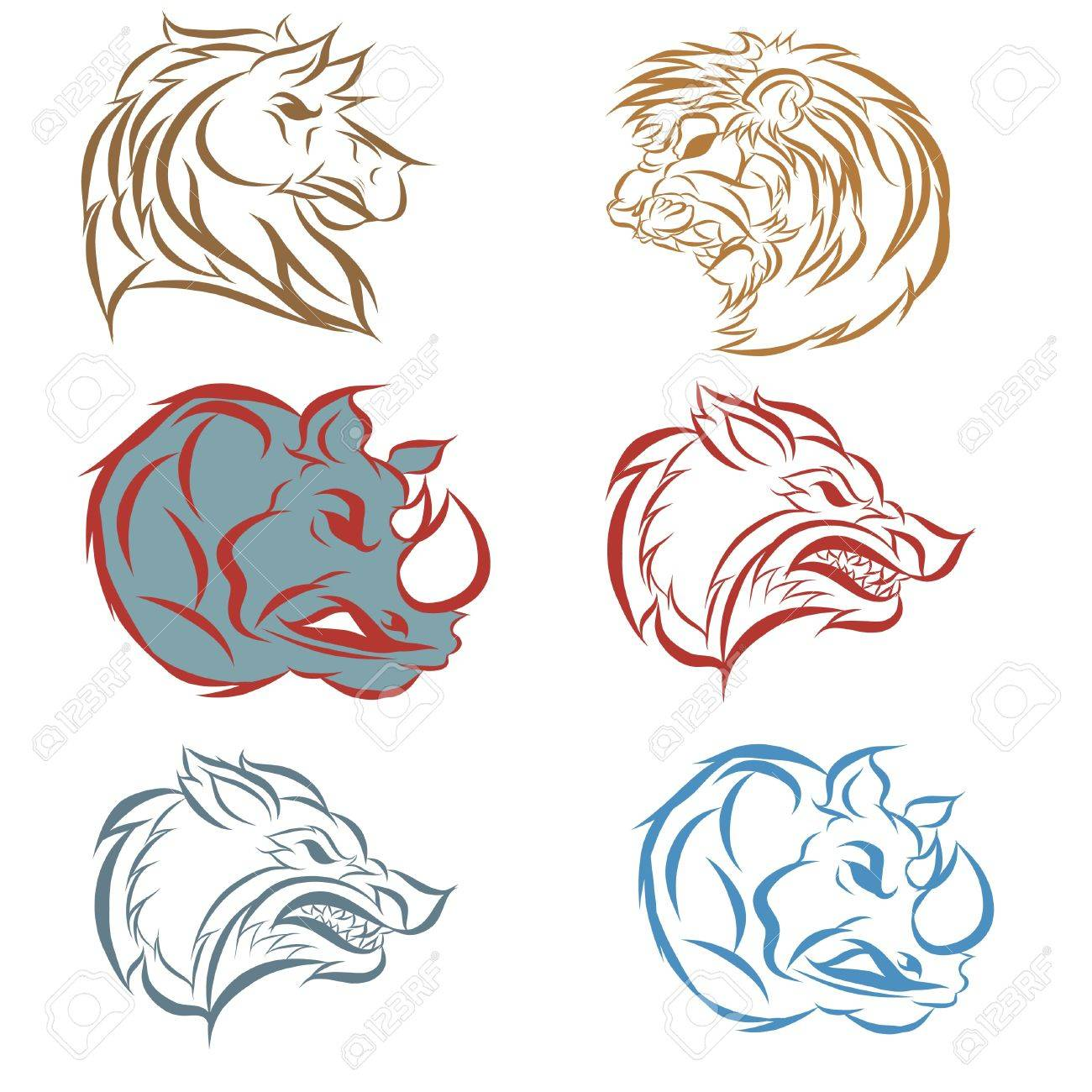 1300x1300 Hand Draw Illustration Of Animal Faces Royalty Free Cliparts