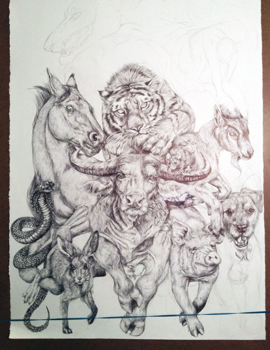880x1138 19 Year Old Artist Spent Her Summer Drawing This Epic Chinese