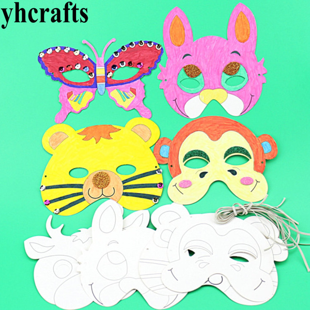640x640 12pcslot.6 Design Paper Unfinished Zoo Animal Mask Party Favor