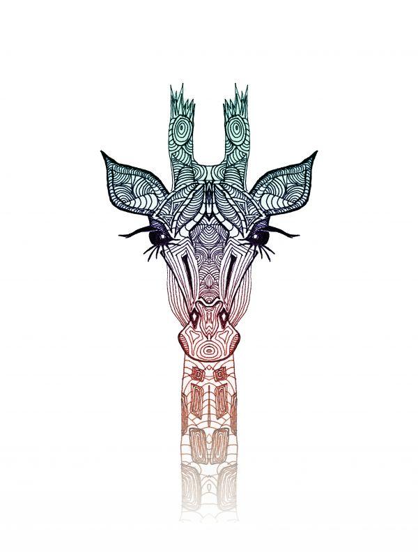 600x799 Giraffe Illustration Pattern Wild Animal Popular White Teal Orange