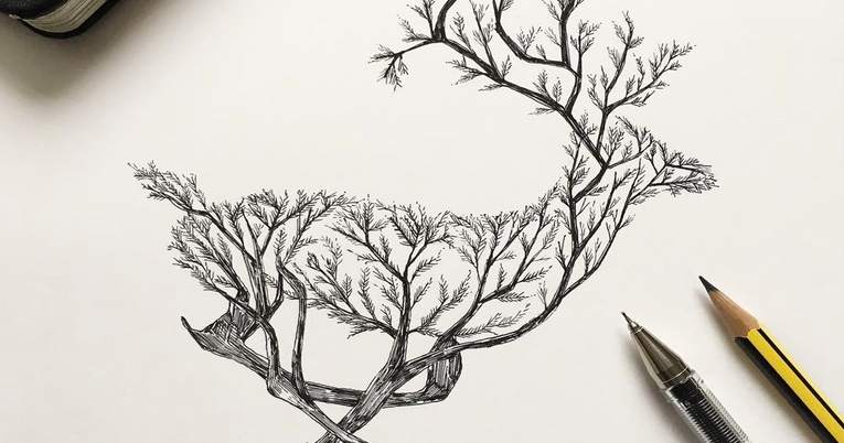 765x402 Artist Fuses Animals With Nature Through Pen Sketches