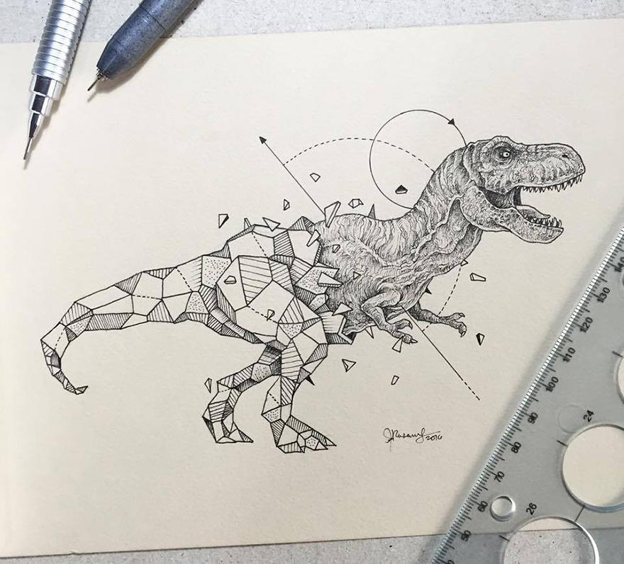 880x796 Lovely Half Geometrical Drawings Of Wild Animals Fubiz Media
