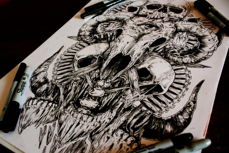 1500x1000 Skull Drawings By A Man Called E. G. The Freak Scene360