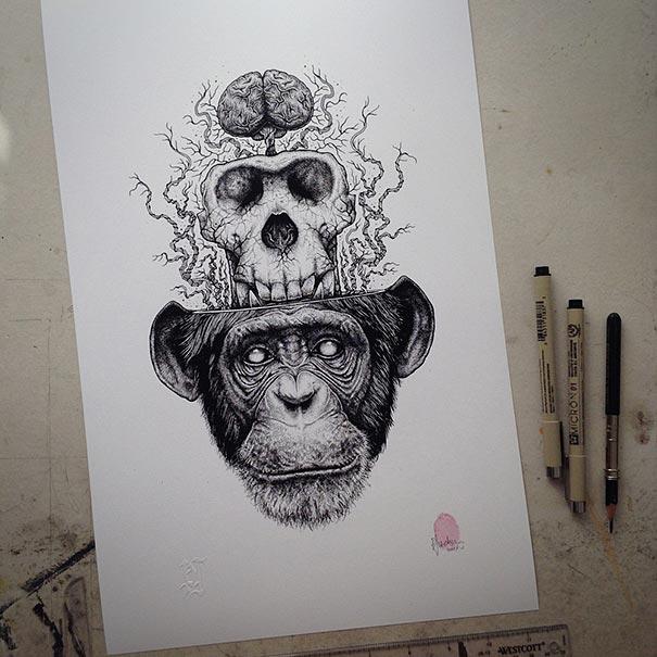 605x605 Animal Skull Drawings Paul Jackson 5