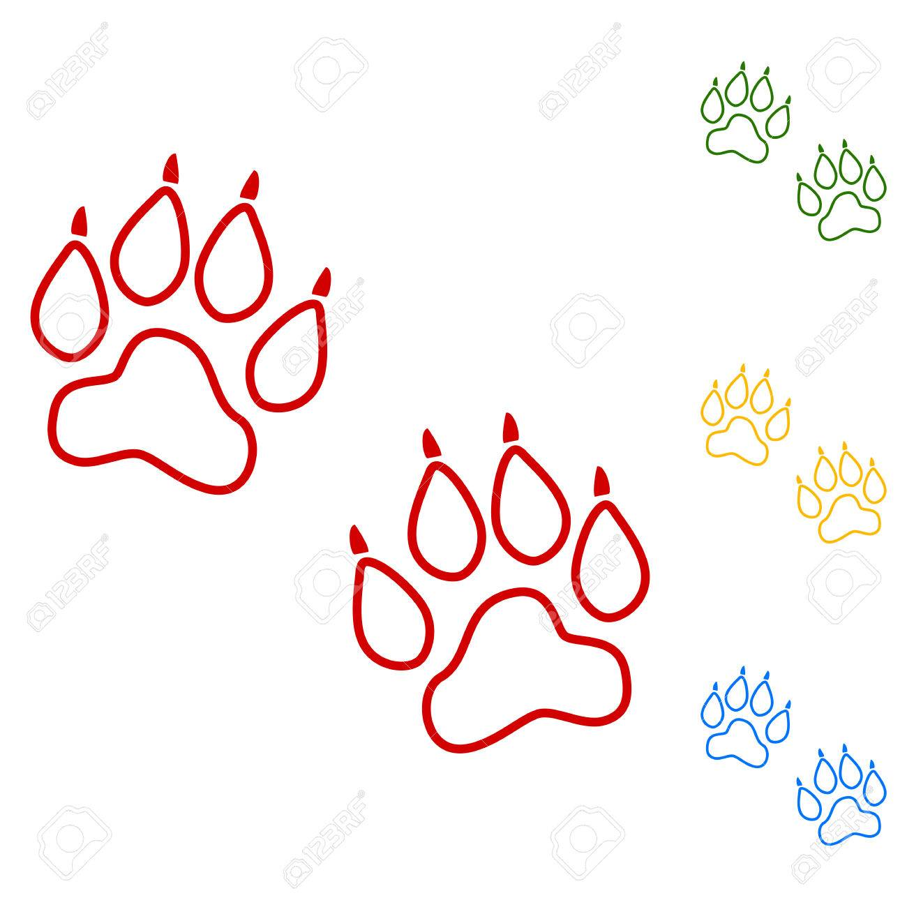 1300x1300 Animal Tracks. Vector. Set Of Line Icons. Red, Green, Yellow