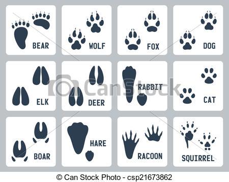450x358 Animal Tracks Vector Icons Set Clip Art Vector