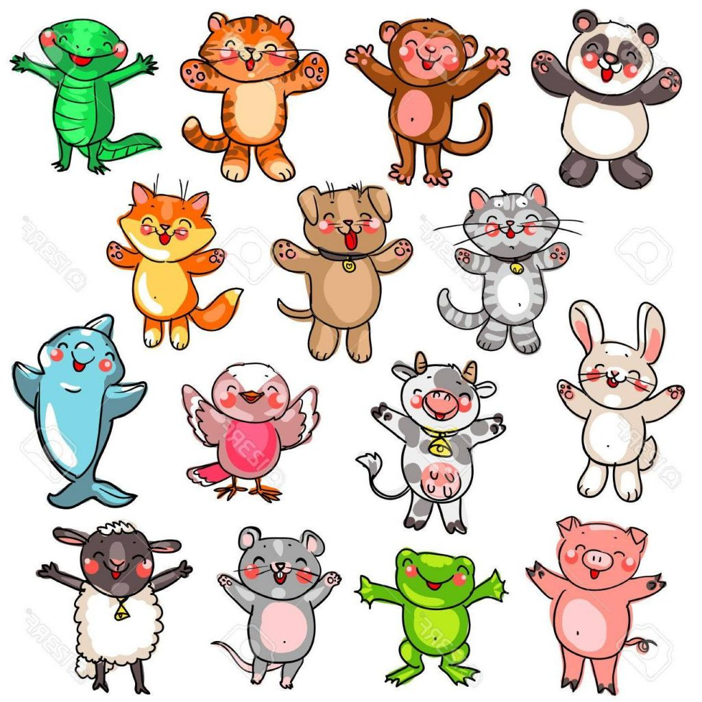 1024x1024 Unique Collection Of Cute Baby Animals Cartoon Drawing Stock