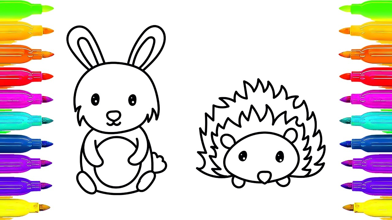 1280x720 Coloring Pages For Kids Drawing Animals How To Draw Rabbit