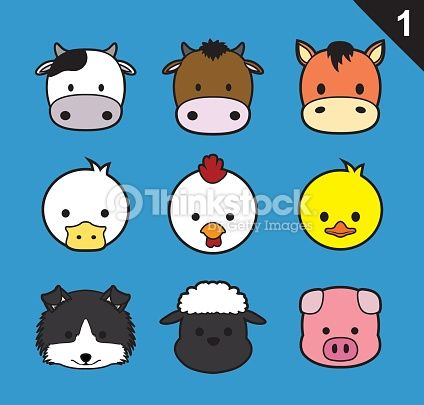 424x405 Vector Art Flat Animal Faces Stroke Icon Cartoon Vector Set 1