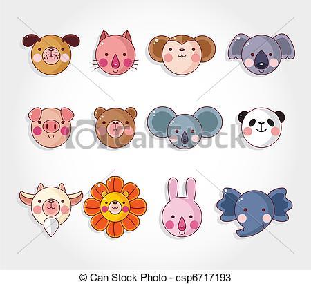 450x411 Easy Animal Cheek Art Samples Of Cartoon Animal Face Icon Set