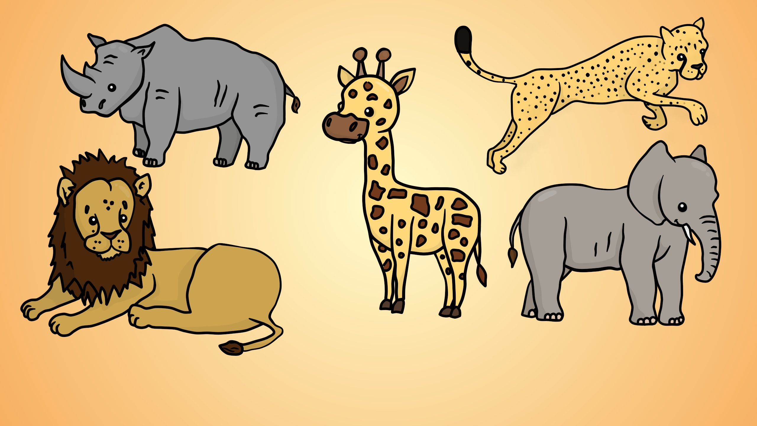 2560x1440 Draw Five How To Draw African Animals