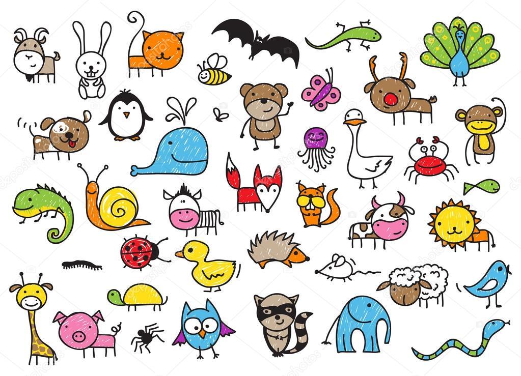 1023x739 Kid's Drawings Of Animals Stock Vector Zsooofija
