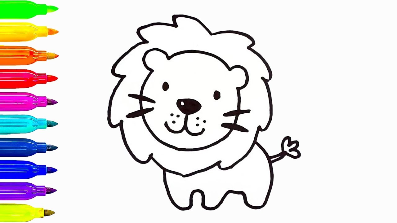1280x720 Lion Drawing And Coloring For Kids How To Draw Animals Learn