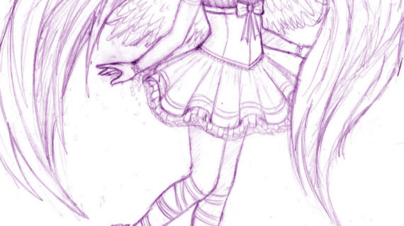 570x320 Anime Angel Drawings Anime Angel Drawing