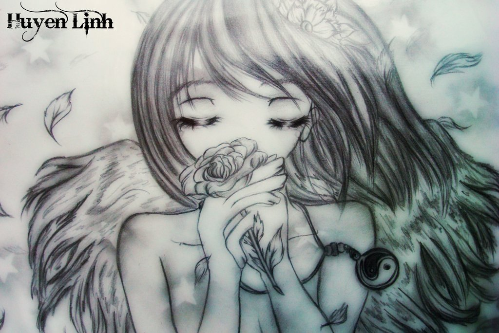 1024x684 Anime Angel By Huyen Linh