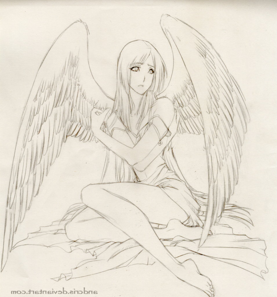 955x1024 Anime Drawing Angel Angels Drawings Pencil Angel Anime Drawings