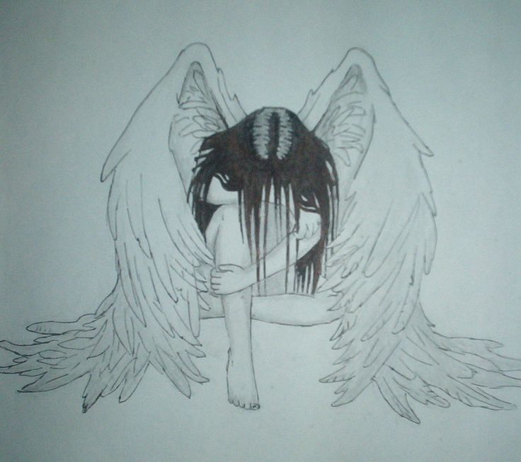736x653 Sad Angel Drawing