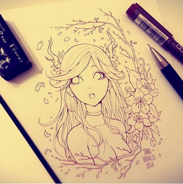 600x604 40 Amazing Anime Drawings And Manga Faces