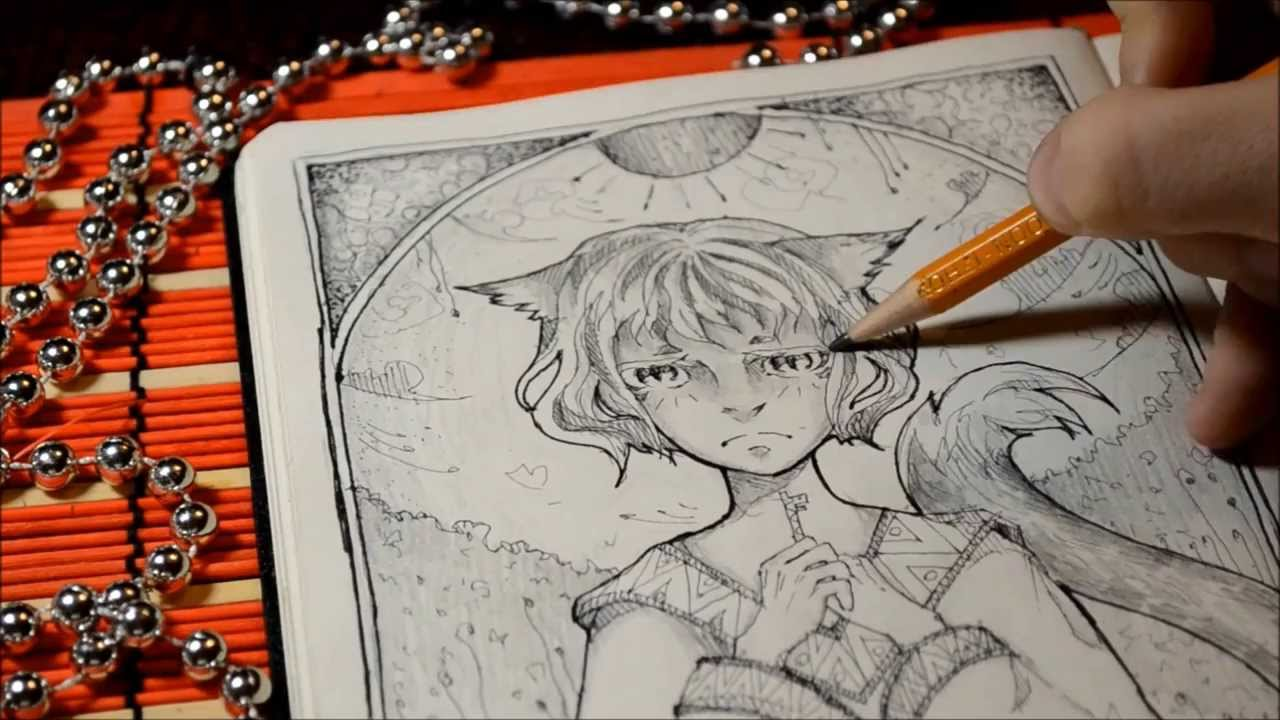 1280x720 me drawing】 Traditional anime art speed drawing PROCESS