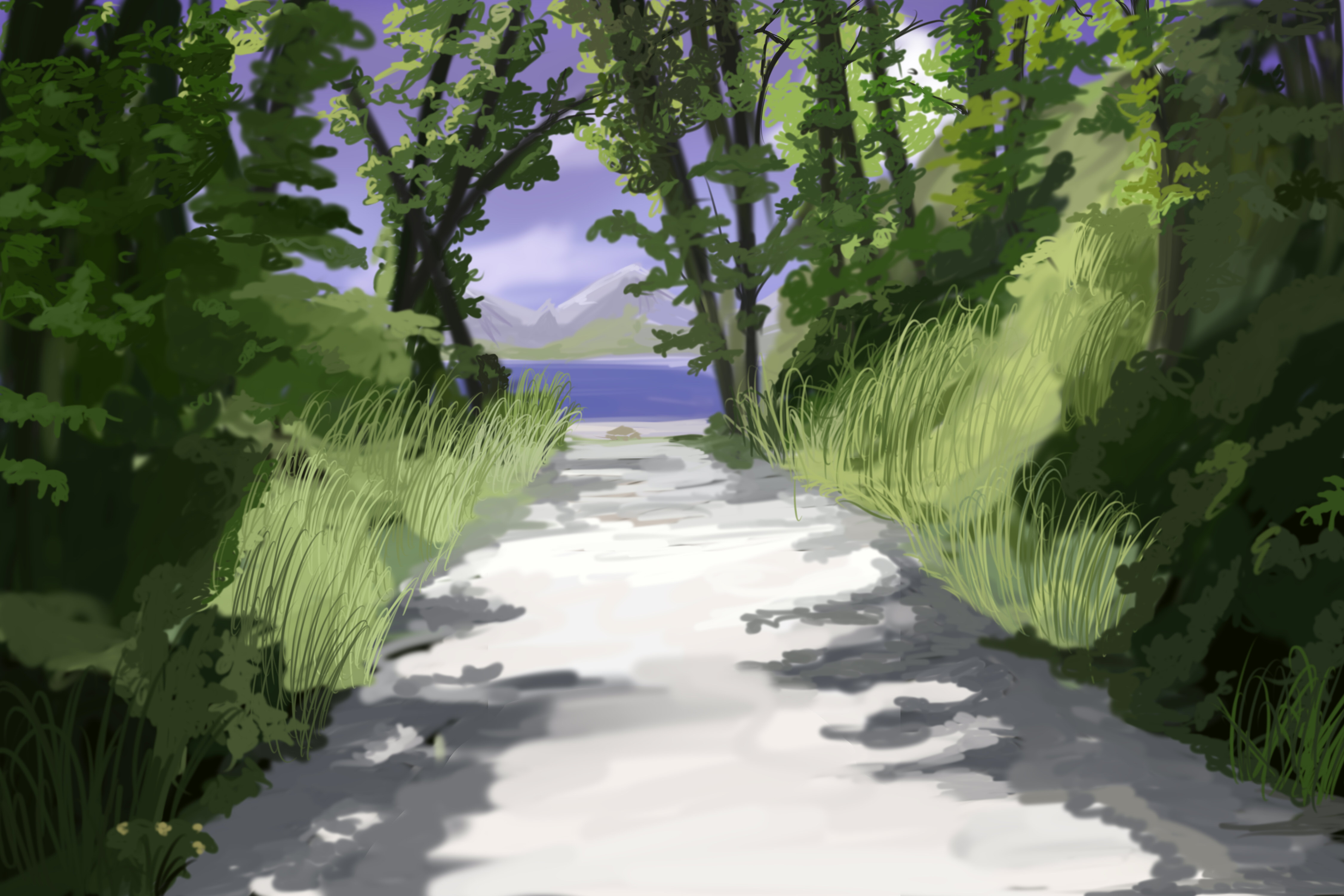 4500x3000 Forest Path Anime Background By Wbd
