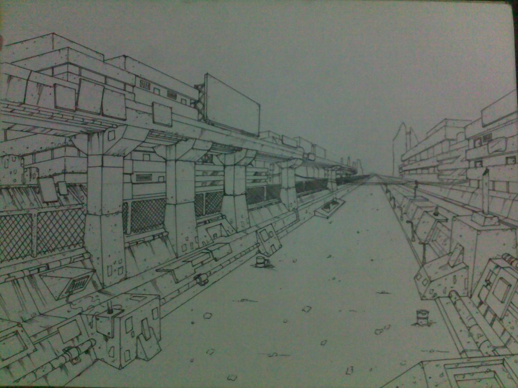 1024x768e Point Perspective Background Drawing By Beryl21