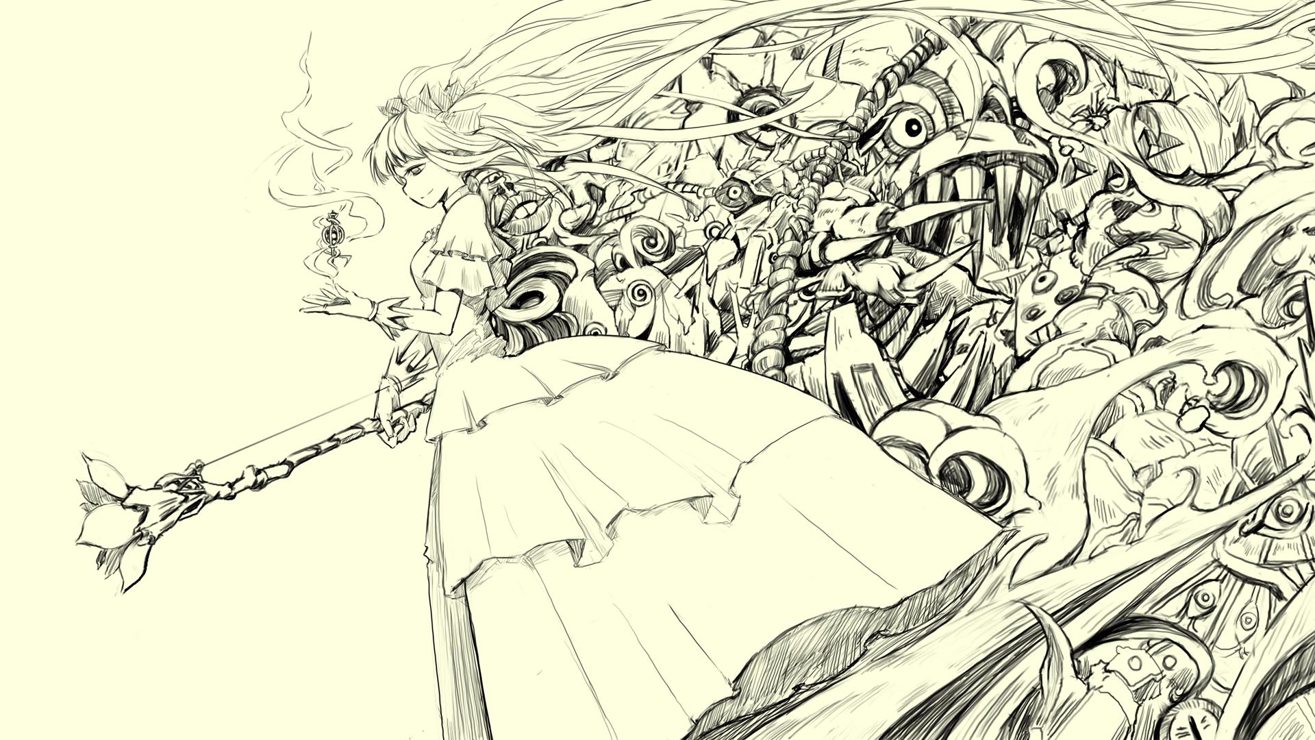 1920x1080 Anime Sketches Anime Girl Sketch Google Skins, Anime Girl Sketch