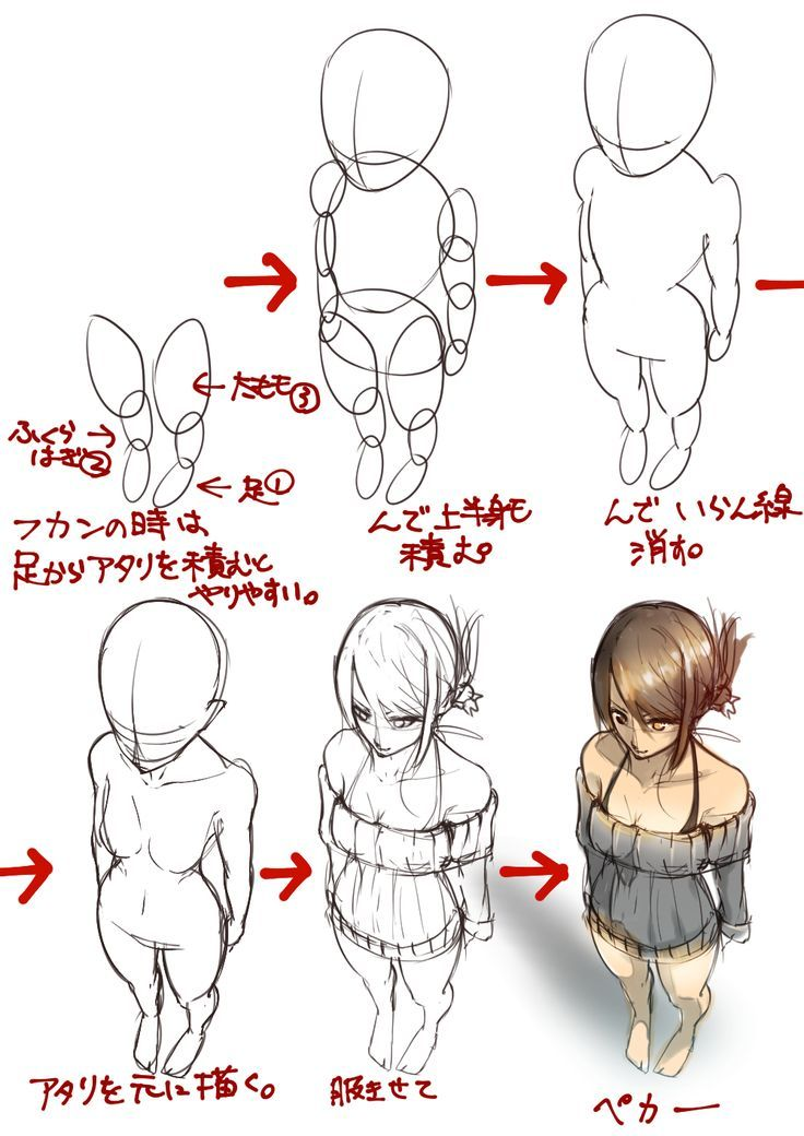 736x1040 Anime Full Body Back View Drawing