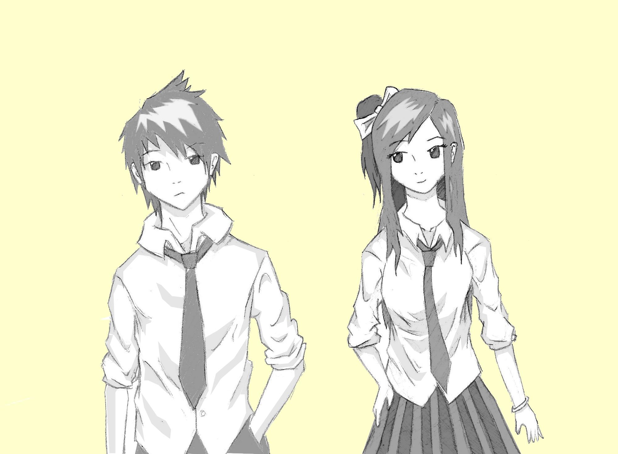 2000x1469 anime boy and girl drawing boy and girl drawing image